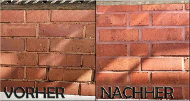 Alte Mauerwerksfugen können mit unserem frostsichern farbigem Fugenmörtel erneuert werden