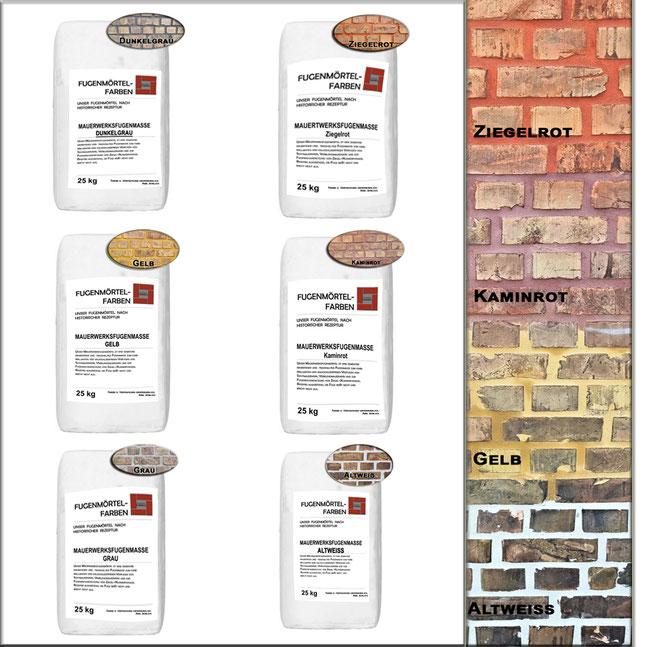 unser Mauerwerksfugenmörtel in vieln Farbtönen ist gut für die Verfugung von alten und neuen Sichtmauerwerk geeignet