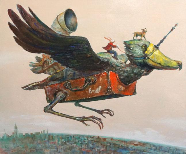 出品作品「新たな出発」F20号 キャンバスにオイル 原太一作