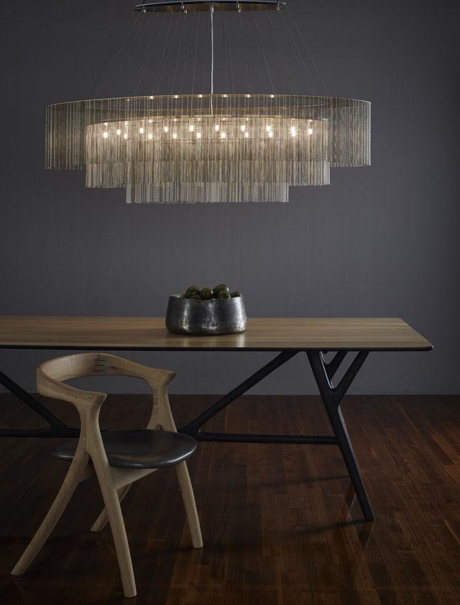 Elliptical 3 Tier Kronleuchter aus Metall mit LED, modern, handgefertigt, Willowlamp, Afrika