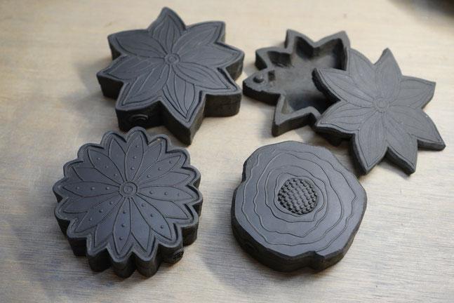 陶芸家 焼き物 陶芸作品 茨城県笠間市 粉引き作品 印花 蓋物 ボックス 物入れ 小箱