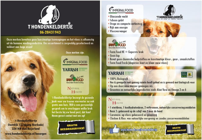 Gratis bezorgservice ImperialFood, Farmfood, Yarrah, NaturalHealth Hondenkeldertje Spijkenisse, Hellevoetsluis Nissewaard