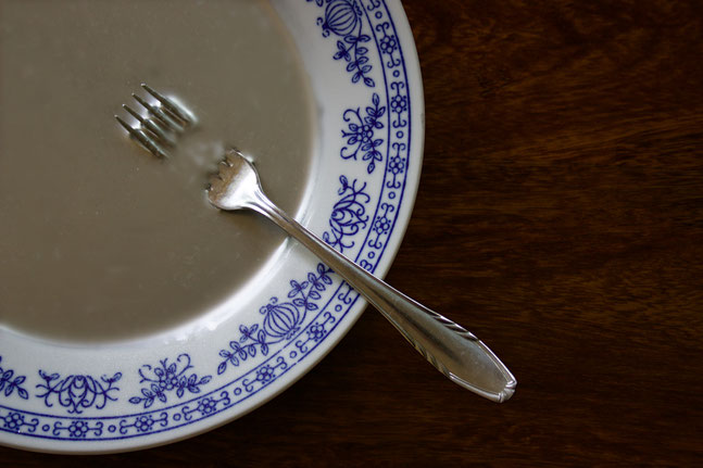 Mercury on a plate with a fork.