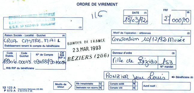 B / ORDRE DE VIREMENT
