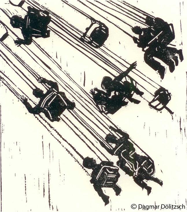 Druckgrafik, Titel: Kettenkarussell, Technik: Linolschnitt, Format: 15cm x 17cm, Künstler: Dagmar Dölitzsch