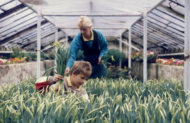 Mathias Pabst mit seiner Mutter Ingrid in unseren ehemaligen Gewächshäusern.