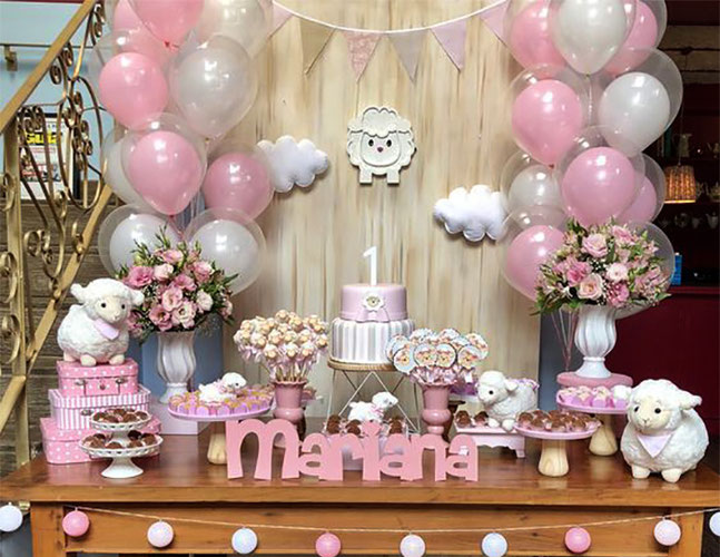 mesa de postres baby shower de borreguitos