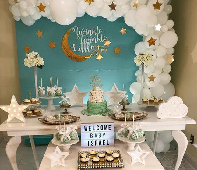 mesa de postres baby shower de estrellas