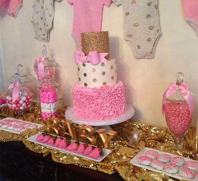 mesa de postres baby shower de niña