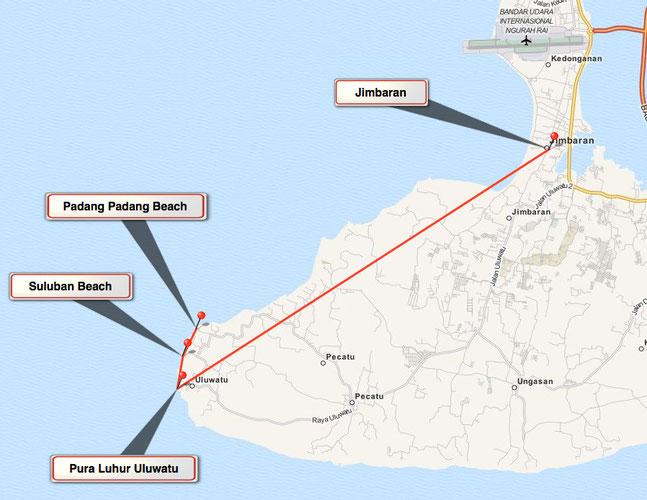 Bild: Karte Tour 4 auf Bali - Von Jimbaran zum Tempel Pura Luhur Uluwatu und den Stränden Suluban Beach und Padang Padang Beach.