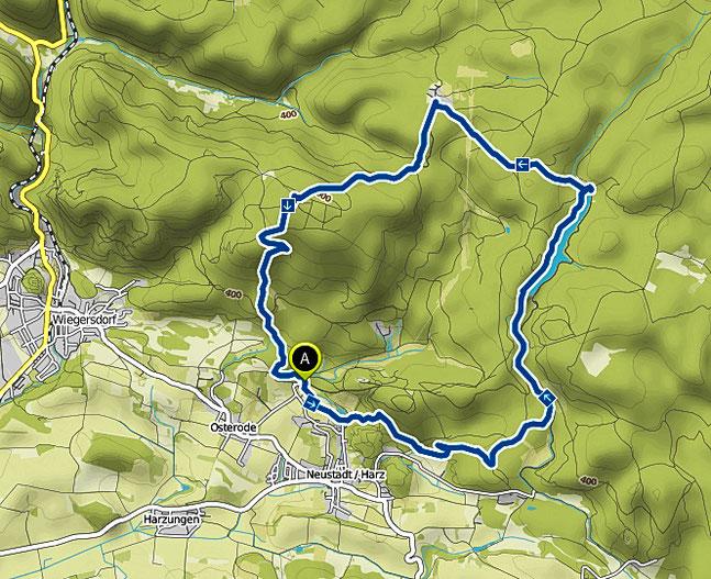Bild: Karte der Wanderung um die Talsperre Neustadt im Harz