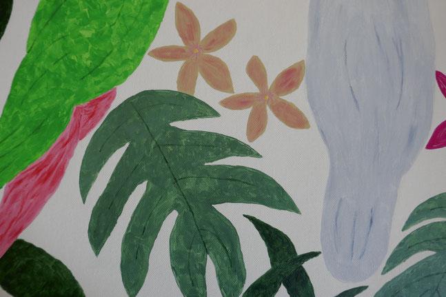 feuille verte et fleurs roses : univers emylila