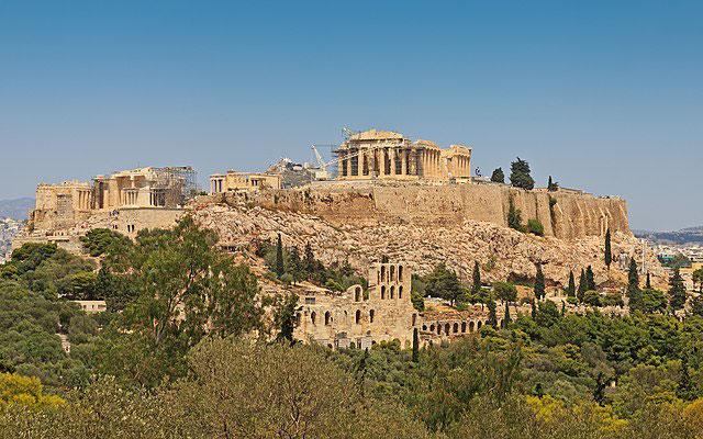 Ricostruzione idealizzata dell'Acropoli di Atene, opera di Leo von Klenze (1846)