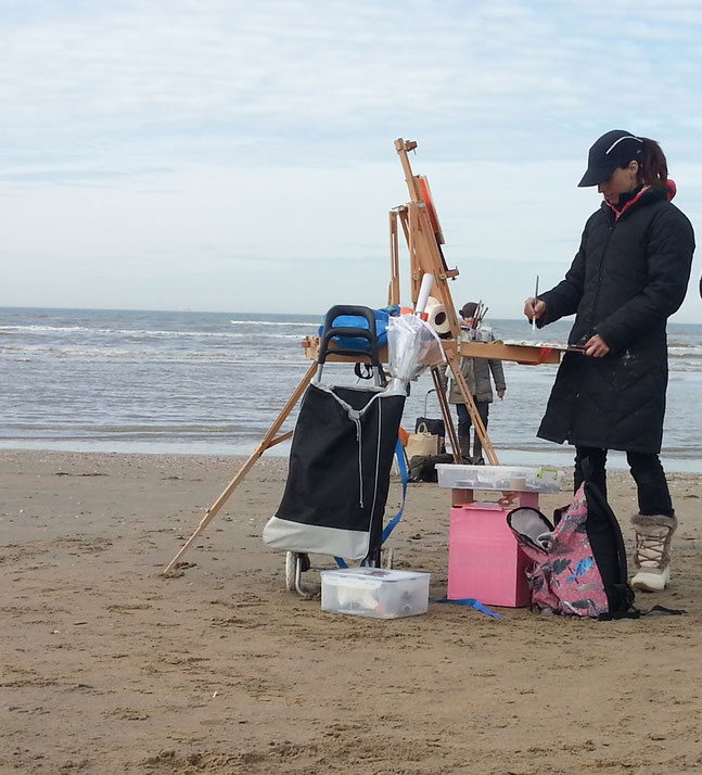 plein air painting in Katwijk aan zee, making a seascape oilpainting