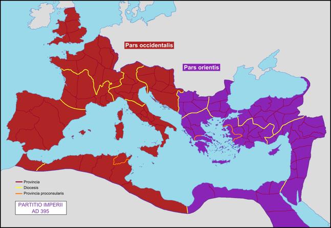 En 394, Théodose règne à la fois sur l'Orient et sur l'Occident après avoir intrigué et éliminé ses rivaux. A sa mort, en 395, cependant, son empire est partagé entre ses deux fils Arcadius qui règnera sur l'orient et Honorius qui règnera sur l'occident.