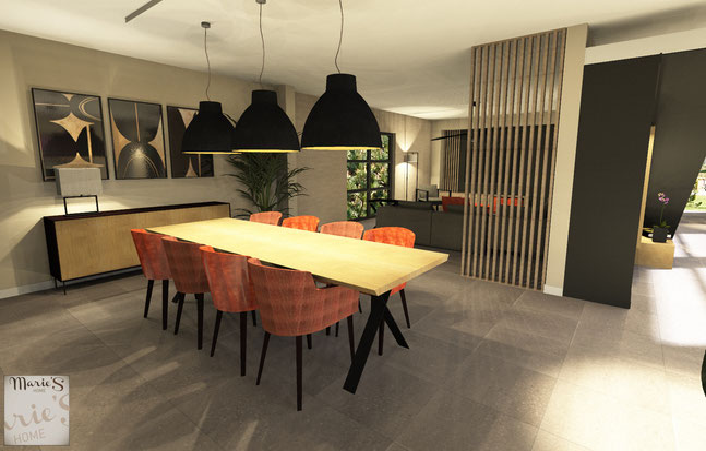 Projet 3D d'un projet en Province de Namur par l'agence de Décoration Marie's Home