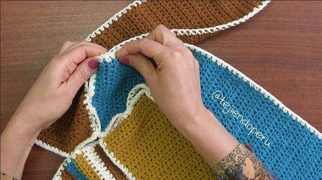Bolso molinete de 4 rectángulos tejido a crochet