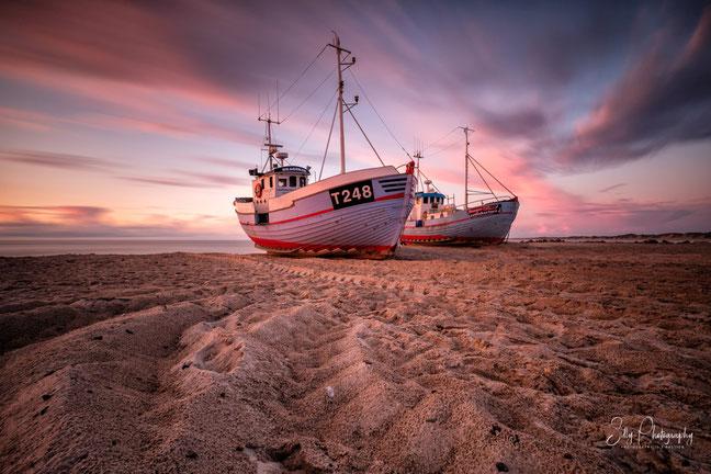 Dänemark / Nordjütland / Vorupør, Fischerboote, Langzeitbelichtung, 2017, © Silly Photography