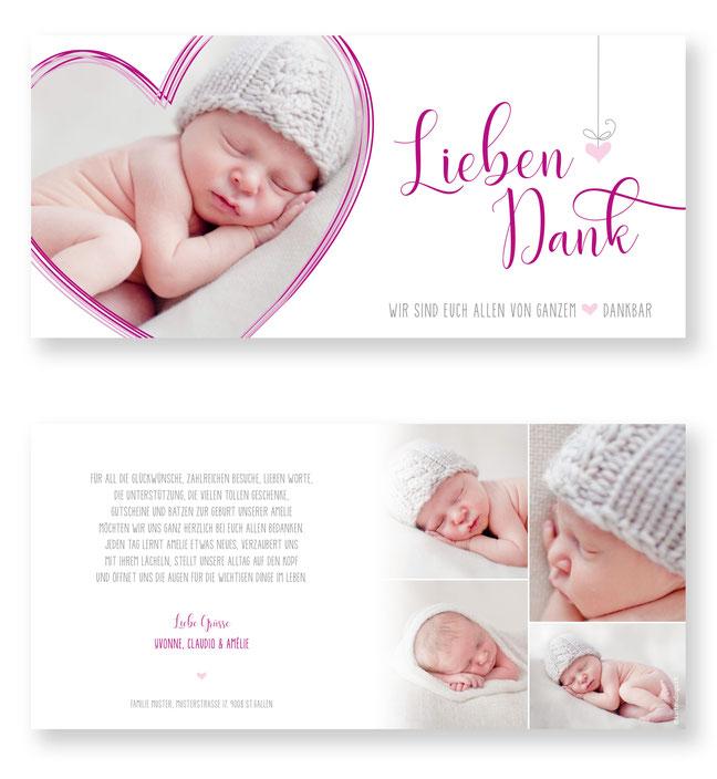 Geburtskarte Geburtsanzeige Dankeskarte Geburt