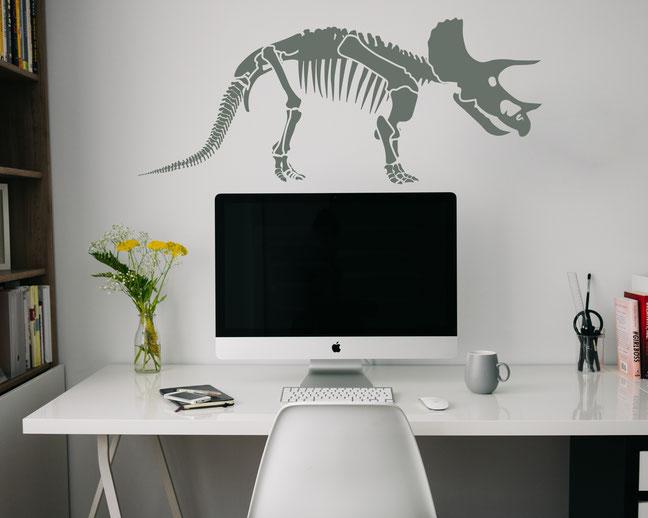 Dinosaur Triceratops Skeleton wall art sticker
