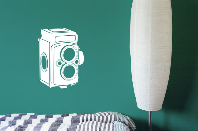 Vintage Camera wall art sticker. Many colours available from wallartcompany.co.uk
