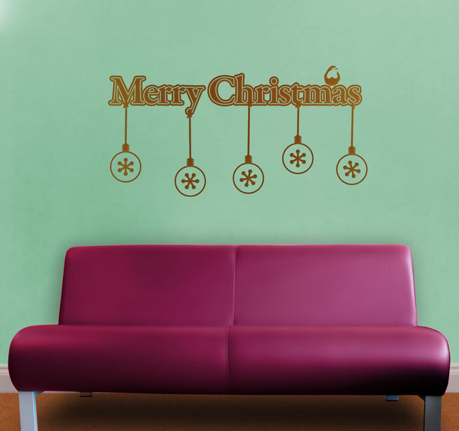 Merry Christmas snowflakes vinyl Wall art decals from www.wallartcompany.co.uk