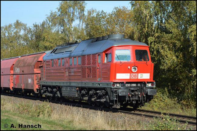 Nach ihrer HU in Daugavpils (Lettland) bekam 233 288-0 eine Benummerung in unüblicher Schriftart. Am 31. Oktober 2019 fiel das auf, als sie den Leergipszug nach Küchwald durch Herrenhaide zog