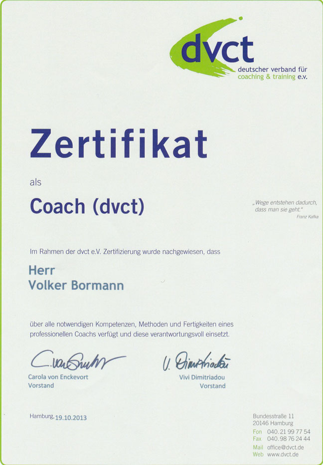 Zertifikat Deutscher Verband für Coaching & Training (dvct)