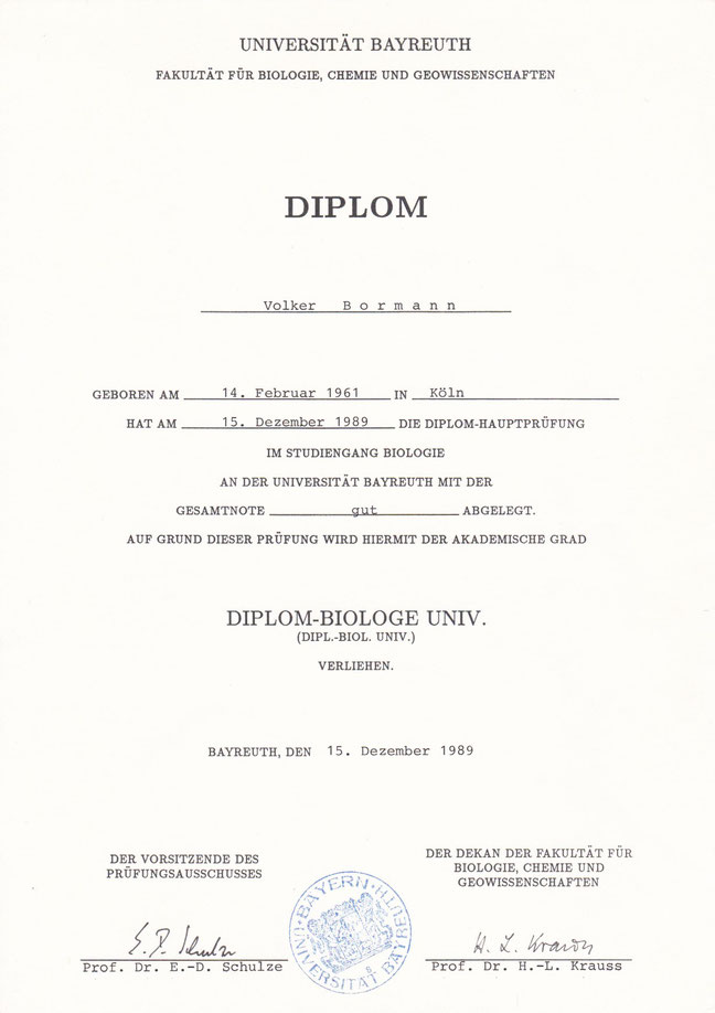 Universität Bayreuth Volker Bormann Diplom-Biologe
