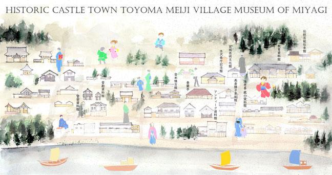 みやぎの明治村・登米のハイカラ風イラストマップです。登米市はNHK連続テレビ小説「おかえりモネ」の舞台としても注目の町並みです。