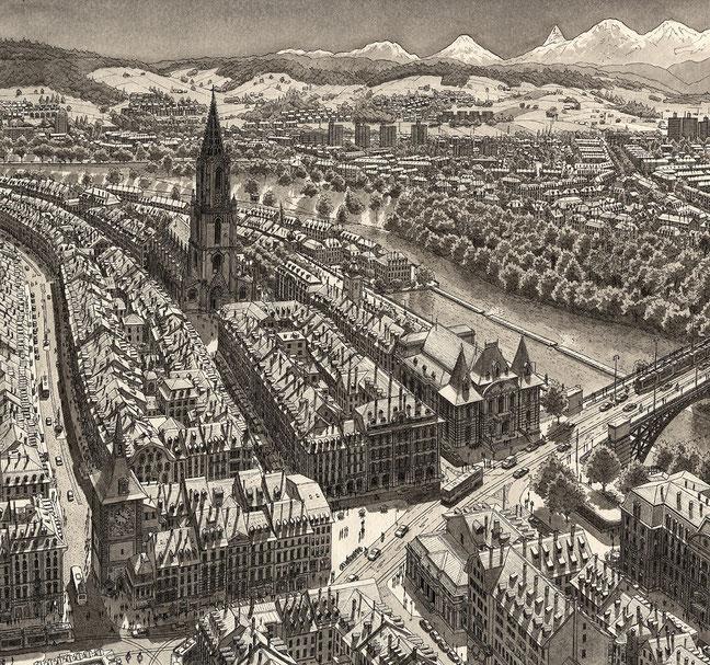 Zeichnung einer erfundenen Stadt im Kanton Bern (Vogelperspektive einer Stadt mit See und Fluss mit Bergen im Hintergrund. Ausschnitt)