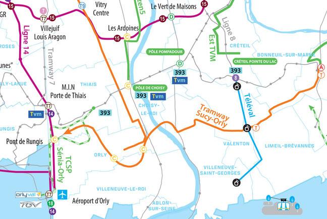 Carte des projets de transports, quartier des temps durables à Limeil-Brévannes