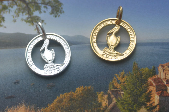 Münzsagewerk Katrin Thull | Albanien -  Pelikan goldplattiert oder versilbert