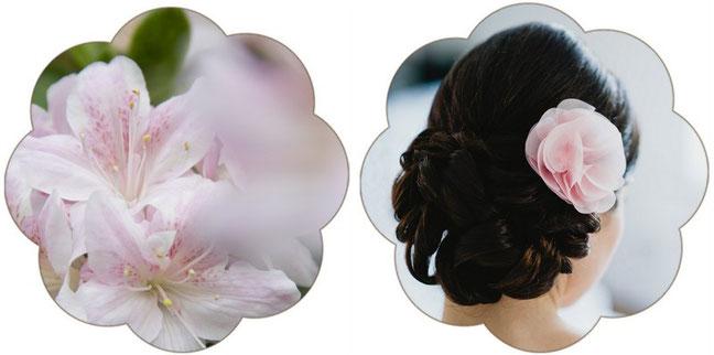 Rosa Haarschmuck für die Rosa Hochzeit - Haarblüte aus Seide in Rosa für die Braut.