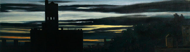 """Rooftop Sunset 2"" by Daniel Hauben (18"" X 64 1/8"" Oil on Canvas Mounted on Board - 2012)"