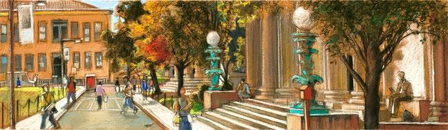 """""""BCC Gould Entrance Pastel Study"""" by Daniel Hauben"""
