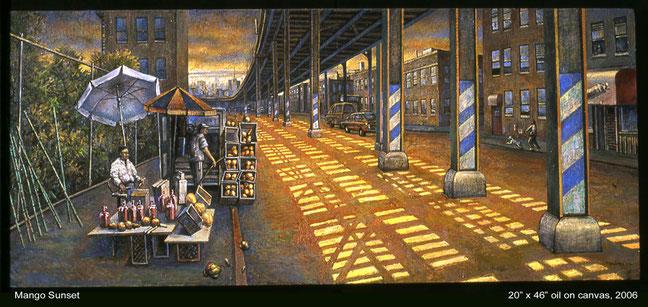 """Mango Sunset"" by Daniel Hauben (Oil on Canvas, 20"" X 46"", 2006)"