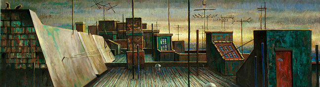 """Sholem Aleichem Roofs 2"" by Daniel Hauben (18"" X 64 1/8"" Oil on Canvas Mounted on Board - 2012)"
