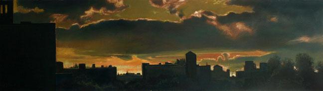 """Rooftop Sunset 1"" by Daniel Hauben (18"" X 64 1/8"" Oil on Canvas Mounted on Board - 2012)"