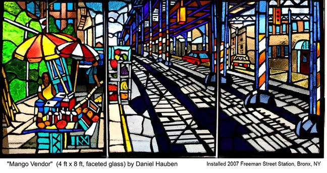 """Mango Vendor"" by Daniel Hauben (Faceted Glass, 48"" X 96"", 2007)"