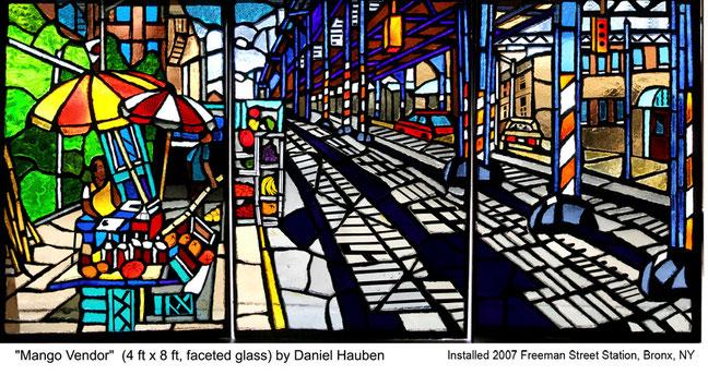 """Mango Vendor"" by Daniel Hauben (Faceted Glass, 48"" X 96"", 2007)"