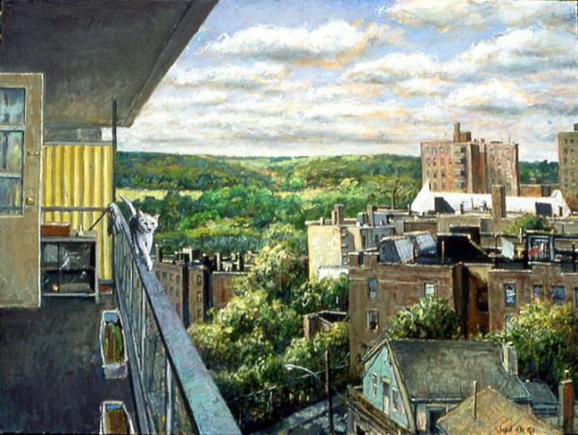 """Cat on a Rail"" Original by Daniel Hauben"