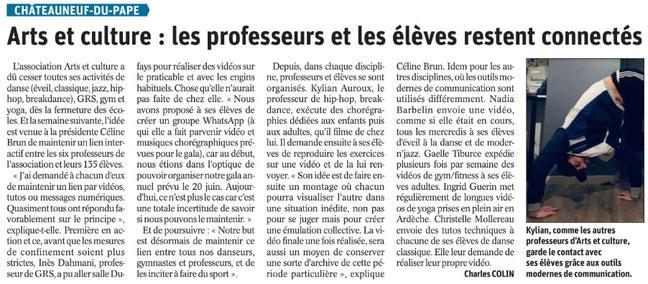 Article Vaucluse Matin du 14/04/20. De C. Colin
