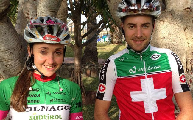 Trainieren in der Sonne: Eva Lechner mit Team-Kollege Fabian Giger aus der Schweiz © Colnago-Team