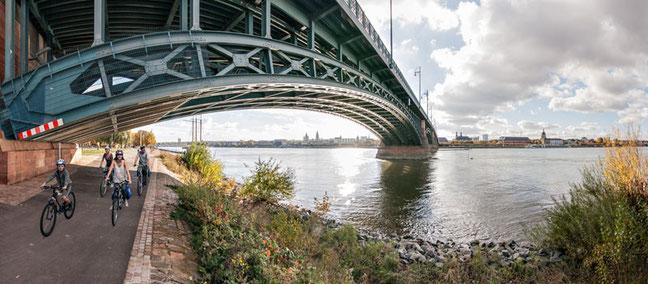 Besonders an großen Rheinbrücken, wie z.B. in Mainz, hilft die durchgehende blaue Beschilderung den Radwanderern, sich im Straßengewirr zurechtzufinden, wie der ADFC Rheinland-Pfalz betont © Rheinradweg Eurovelo 15