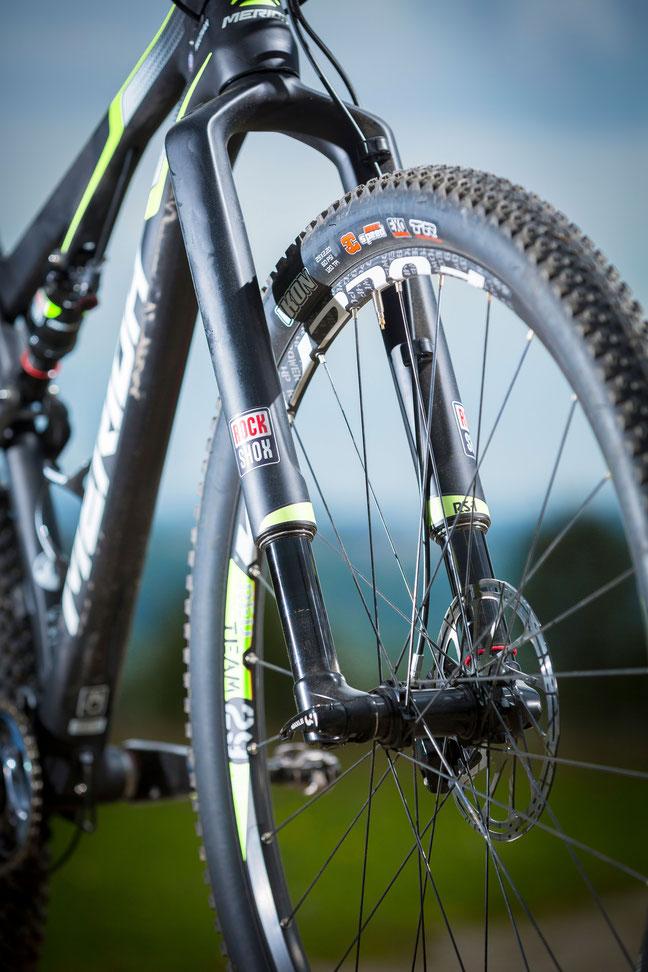 Gabel, Dämpfer, Laufräder und Anbauteile fügen sich auch optisch in die schwarz-grüne Pracht.