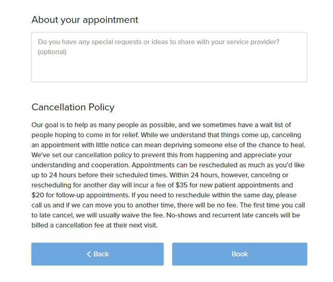 Beachside Community Acupuncture PLLC online scheduler screenshot of appointment details