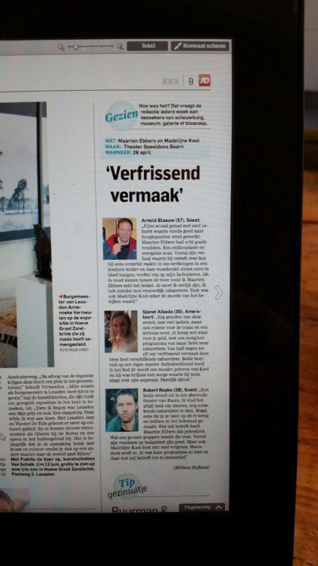 Publieksreacties uit het Algemeen Dagblad