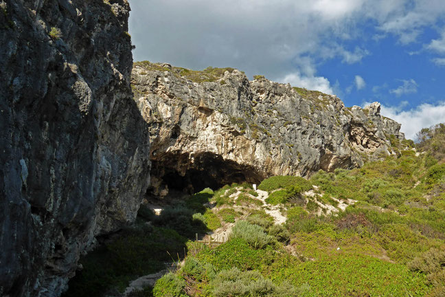 Limestone cliffs and caves