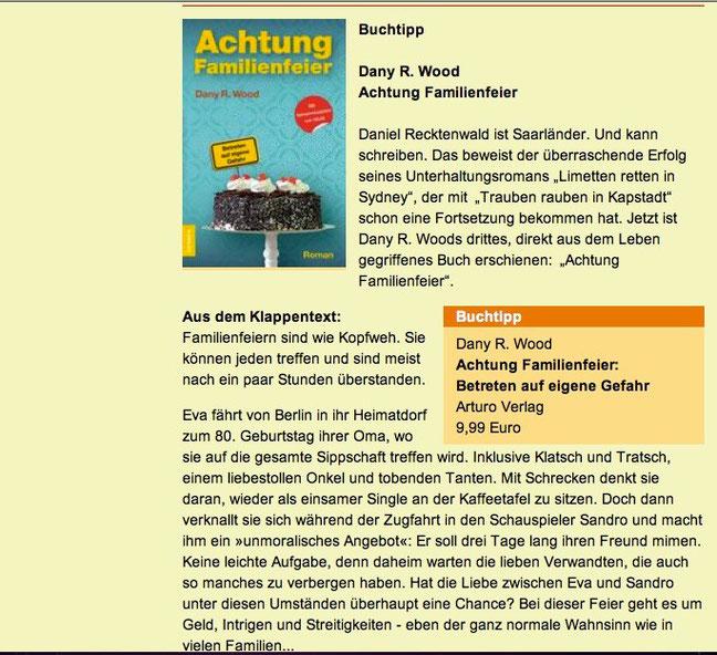 SR 1 Dany R. Wood Buch-Tipp, Achtung Familienfeier, Saarländer, Abendrot